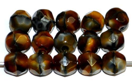 Best.Nr.:26073 facettierte Glasperlen tigerauge, hergestellt in Gablonz / Tschechien