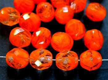 Best.Nr.:26074 facettierte Glasperlen  kristall orange meliert
