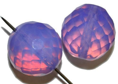 Best.Nr.:26122 facettierte Glasperlen  Opalglas lilaflieder, hergestellt in Gablonz / Tschechien