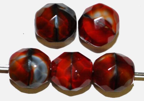 Best.Nr.:26156 facettierte Glasperlen rot schwarz hergestellt in Gablonz / Tschechien