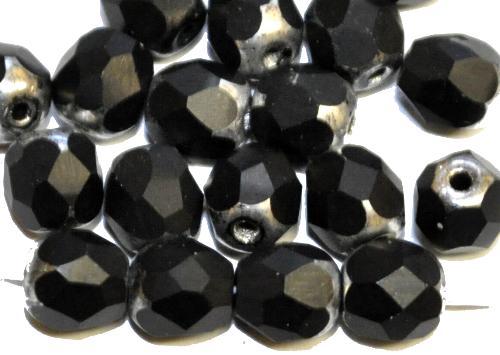 Best.Nr.:26178 geschliffene Glasperlen  Multi Cut Beads  schwarz mit antiksilber finish, hergestellt in Gablonz / Tschechien