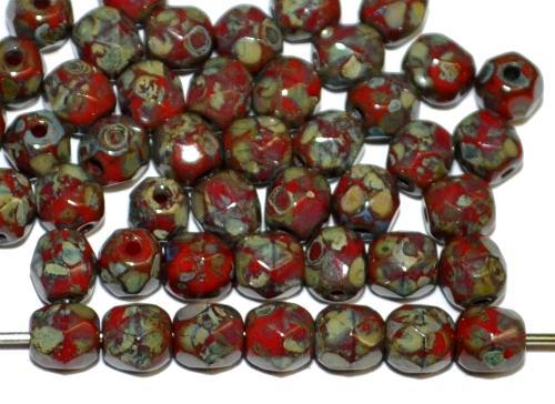 Best.Nr.:26179 facettierte Glasperlen rot opak mit picasso finish, hergestellt in Gablonz / Tschechien