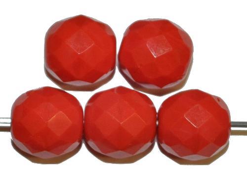 Best.Nr.:26196 facettierte Glasperlen rot opak, hergestellt in Gablonz / Tschechien