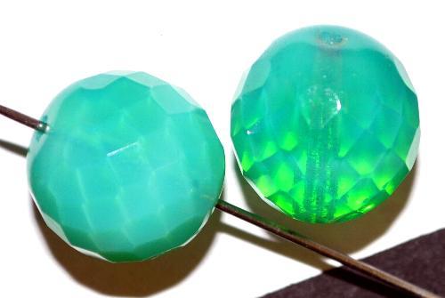 Best.Nr.:26202 facettierte Glasperlen  Uranglas Opalgrün,  hergestellt in Gablonz / Tschechien