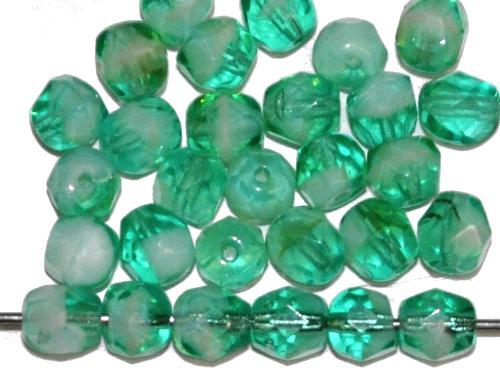 Best.Nr.:27207 facettierte Glasperlen grün, B-Sortierung, hergestellt in Gablonz / Tschechien
