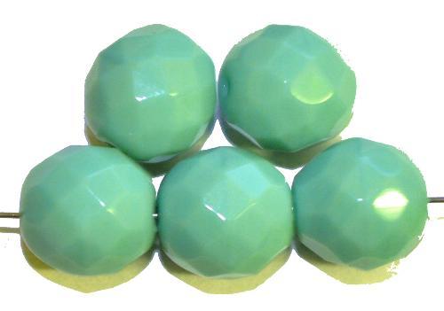 Best.Nr.:26218 facettierte Glasperlen  mint opak,  hergestellt in Gablonz / Tschechien