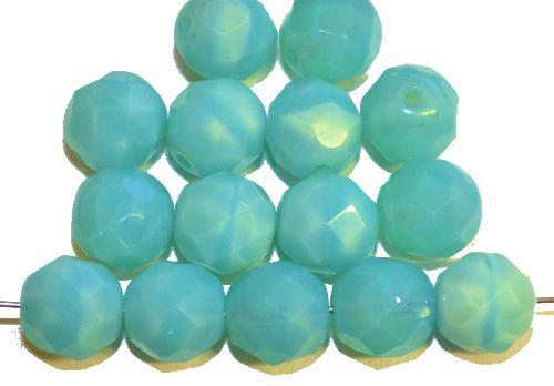 Best.Nr.:26221 facettierte Glasperlen  türkis opal,  hergestellt in Gablonz / Tschechien