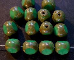 Best.Nr.:26235 Glasperlen türkisgrün 3 Seiten geschliffen und picasso finish