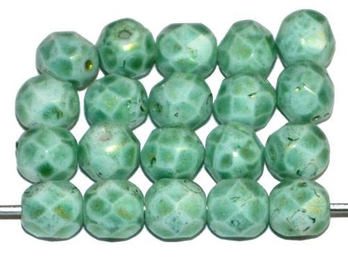 Best.Nr.:26250 facettierte Glasperlen russian green speckled finish, hergestellt in Gablonz Tschechien