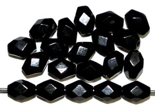 Best.Nr.:26269 Glasperlen geschliffen Oliven schwarz, hergestellt in Gablonz / Tschechien