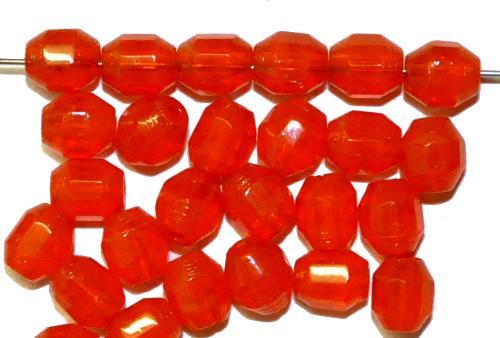 Best.Nr.:26271 geschliffene Glasperlen, orange, um 1940/50 in Gablonz/Böhmen hergestellt