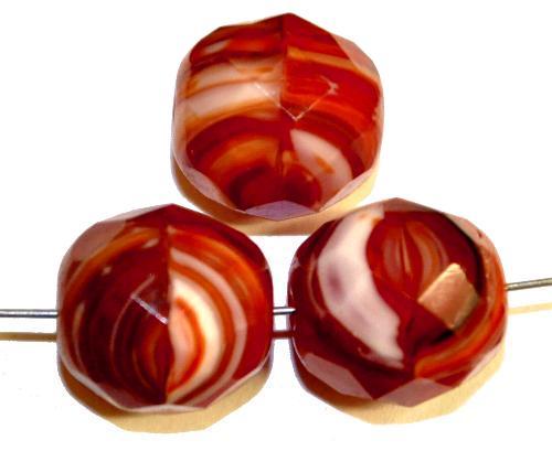 Best.Nr.:26278 facettierte Glasperlen rot weiß meliert, hergestellt in Gablonz / Tschechien