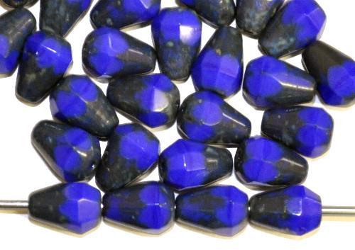 Best.Nr.:26279 facettierte Glasperlen Tropfen blau mit picasso finish, hergestellt in Gablonz / Tschechien
