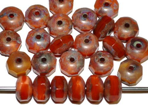 Best.Nr.:26284 Linsen mit facettiertem Rand  Perlettglas orange mit picasso finish,  hergestellt in Gablonz / Tschechien