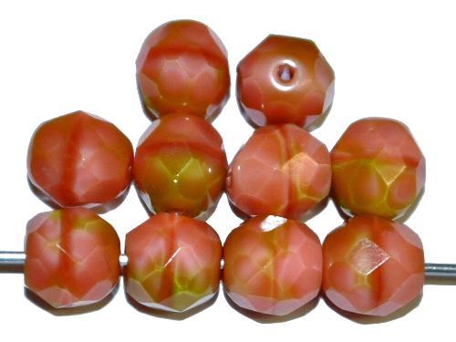 Best.Nr.:26303 facettierte Glasperlen Perlettglas altrosa / oliv, hergestellt in Gablonz / Tschechien
