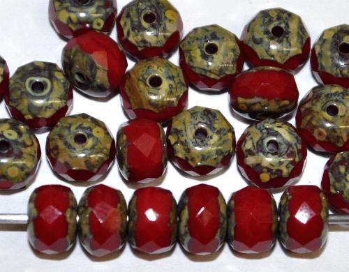 Best.Nr.:26217 Linsen mit facettiertem Rand  rot opak mit picasso finish,  hergestellt in Gablonz / Tschechien