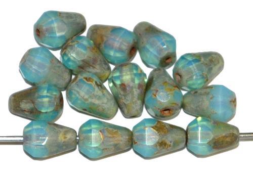 Best.Nr.:26340 Glasperlen Tropfen geschliffen, Opalglas hellblau mit picasso finish, hergestellt in Gablonz / Tschechien