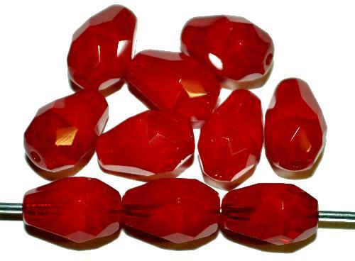 Best.Nr.:26342 facettierte Glasperlen Tropfen rot meliert, hergestellt in Gablonz / Tschechien
