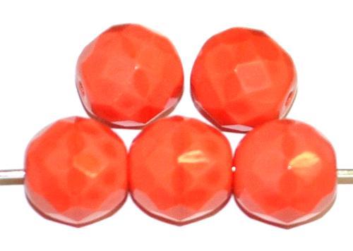Best.Nr.:26344 facettierte Glasperlen lachsrot opak, hergestellt in Gablonz / Tschechien