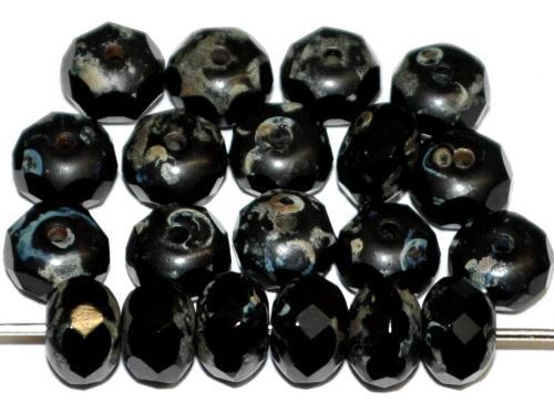 Best.Nr.:26369 Linse schwarz mit facettiertem Rand, schwarz opak mit picasso finish, hergestellt in Gablonz / Tschechien