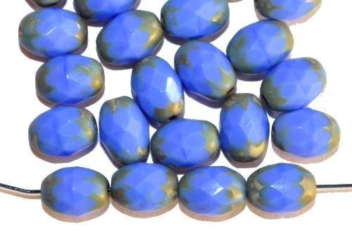 Best.Nr.:26395 geschliffene Oliven mittelblau mit picasso finish, hergestellt in Gablonz / Tschechien