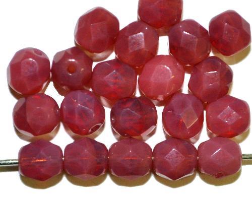 Best.Nr.:27396 facettierte Glasperlen  Opalglas brombeer,  hergestellt in Gablonz / Tschechien