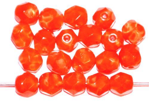 Best.Nr.:26400 facettierte Glasperlen Perlettglas orange, hergestellt in Gablonz / Tschechien