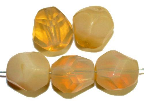 Best.Nr.:26417 geschliffene Glasperlen Opalglas beige, hergestellt in Gablonz / Tschechien