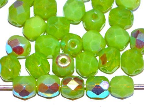 Best.Nr.:26419 facettierte Glasperlen Opalglas grün mit AB, hergestellt in Gablonz / Tschechien