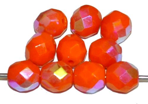 Best.Nr.:26439 facettierte Glasperlen  orange opak mit AB finish,  hergestellt in Gablonz / Tschechien