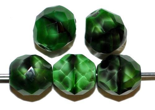 Best.Nr.:26442 facettierte Glasperlen  Perlettglas grün,  hergestellt in Gablonz / Tschechien