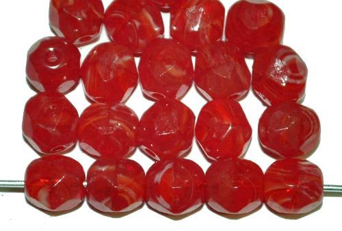 Best.Nr.:26445 facettierte Glasperlen rot marmoriert, hergestellt in Gablonz / Tschechien