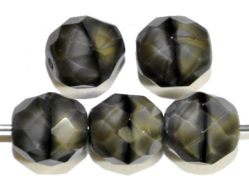 Best.Nr.:26452 facettierte Glasperlen,  Perlettglas grau,  hergestellt in Gablonz / Tschechien