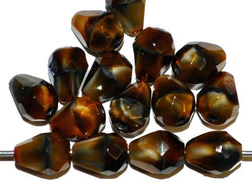 Best.Nr.:26461 facettierte Glasperlen Tropfen tigerauge, hergestellt in Gablonz / Tschechien