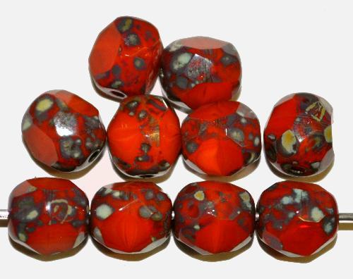 Best.Nr.:26478 Glasperlen orangerot 3 Seiten geschliffen und picasso finish, hergestellt in Gablonz / Tschechien