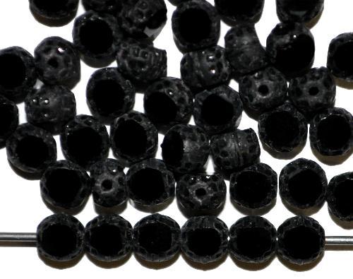 Best.Nr.:26486 Glasperlen / Table Cut Beads geschliffen schwarz, Rand mattiert, hergestellt in Gablonz / Tschechien