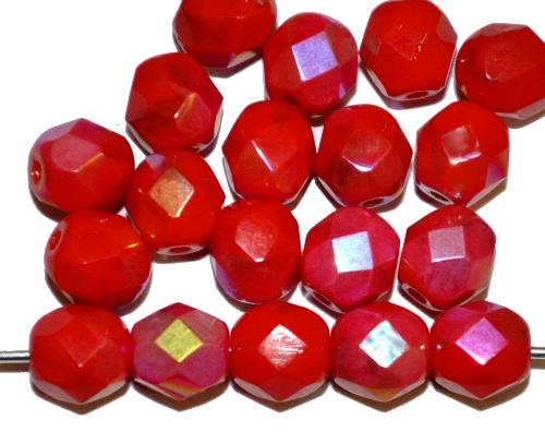 Best.Nr.:26489 facettierte Glasperlen rot mit AB, hergestellt in Gablonz / Tschechien