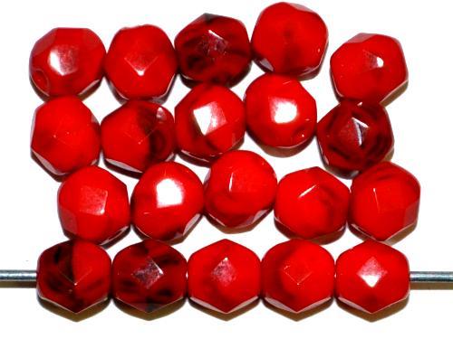 Best.Nr.:26506 facettierte Glasperlen rot schwarz opak, hergestellt in Gablonz Tschechien