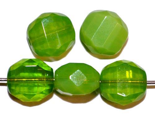 Best.Nr.:26513 geschliffene Glasperlen  Multi Cut Beads  Opalglas grün,  hergestellt in Gablonz / Tschechien