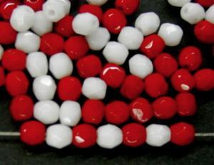 Best.Nr.:26415 facettierte Glasperlen Farbmix weiß rot opak