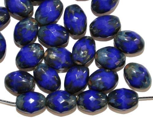 Best.Nr.:26543 geschliffene Oliven blau mit picasso finish, hergestellt in Gablonz / Tschechien