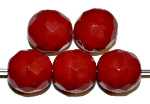 Best.Nr.:26549  facettierte Glasperlen  dunkelrot opak,  hergestellt in Gablonz / Tschechien