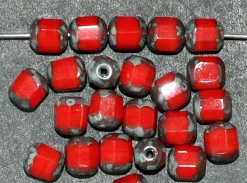 Best.Nr.:26551 geschliffene Glasperlen / lampion beads rot mit picasso finish, hergestellt in Gablonz / Tschechien