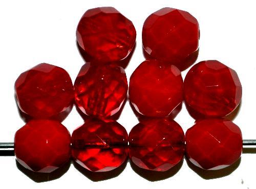 Best.Nr.:26674 facettierte Glasperlen  rot,  hergestellt in Gablonz / Tschechien