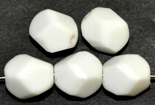 Best.Nr.:26552 geschliffene Glasperlen  weißen opak, hergestellt in Gablonz / Tschechien