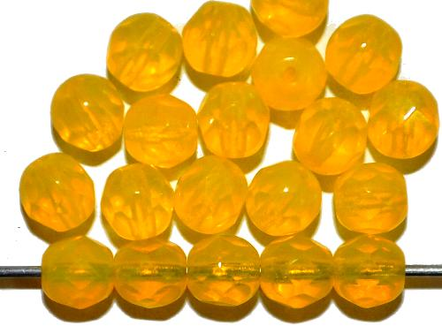 Best.Nr.:26557 facettierte Glasperlen  Opalglas gelb,  hergestellt in Gablonz / Tschechien