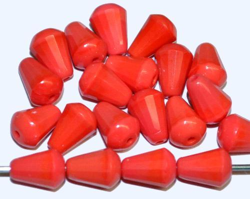 Best.Nr.:26560 Glasperlen geschliffen Tropfen lachsrot opak hergestellt in Gablonz / Tschechien