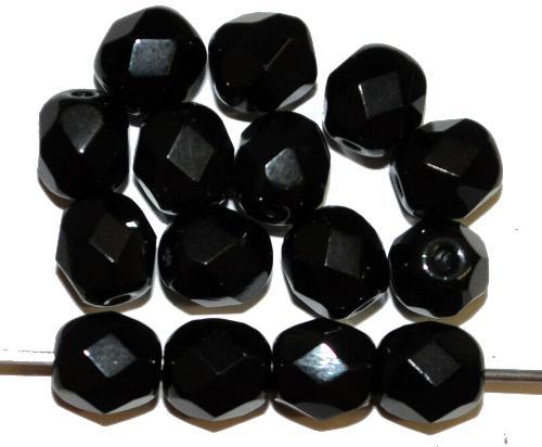 Best.Nr.:26567 facettierte Glasperlen  schwarz opak,  hergestellt in Gablonz / Tschechien