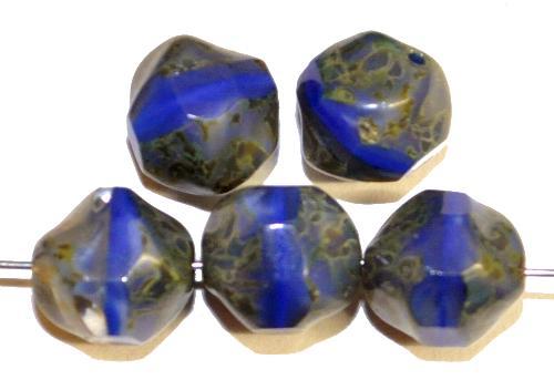 Best.Nr.:26574 geschliffene Glasperlen Nugget  blau opak mit picasso finish, hergestellt in Gablonz / Tschechien