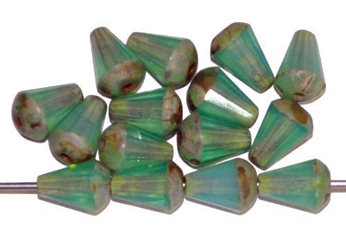 Best.Nr.:26594 Glasperlen Tropfen geschliffen, Opalglas oceangreen mit picasso finish, hergestellt in Gablonz / Tschechien